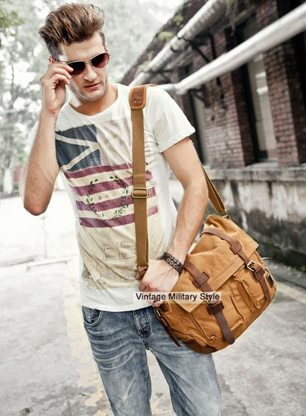 stylish man wearing the military style messenger bag
