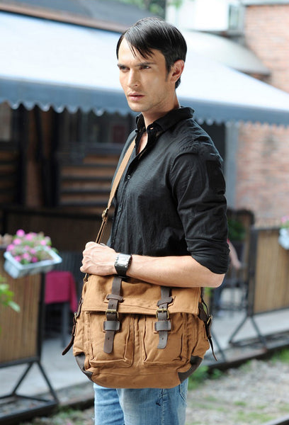 stylish man wearing the military style messenger bag by Serbags