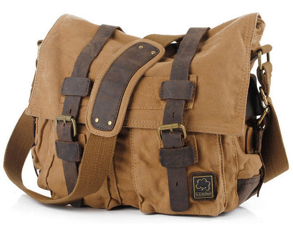 front view of brown canvas military style messenger bag by Serbags
