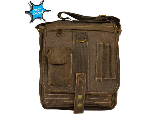 simple brown Green & Brown Multi-Pocket Crossbody Organizer Bag
