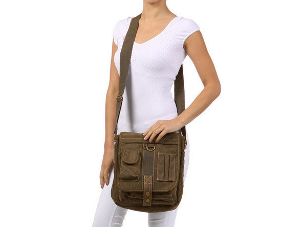woman wearing the Green & Brown Multi-Pocket Crossbody Organizer Bag