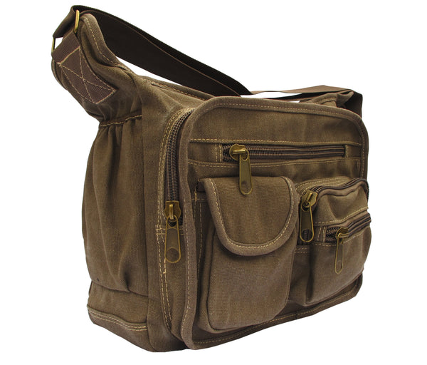 Brown Canvas Travel Shoulder Bag - Serbags  - 2