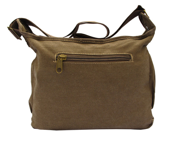 Brown Canvas Travel Shoulder Bag - Serbags  - 4