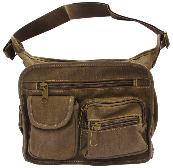Brown Canvas Travel Shoulder Bag - Serbags  - 1