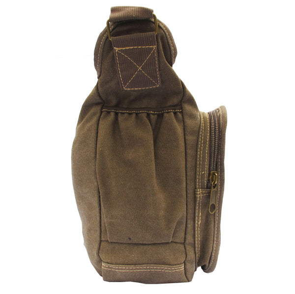 Brown Canvas Travel Shoulder Bag - Serbags  - 3