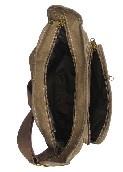 Brown Canvas Travel Shoulder Bag - Serbags  - 5