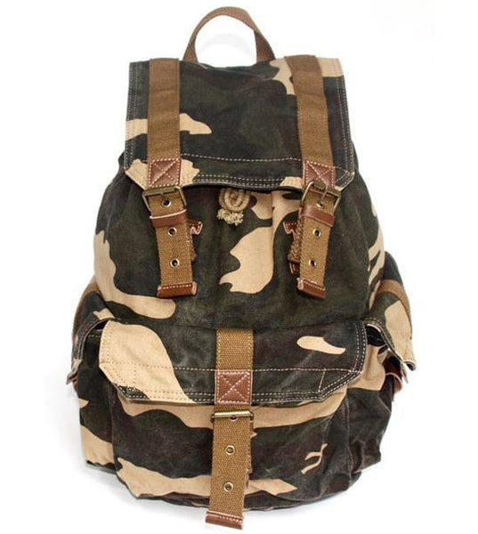 Camo Cargo Military Rucksack Backpack by Serbags