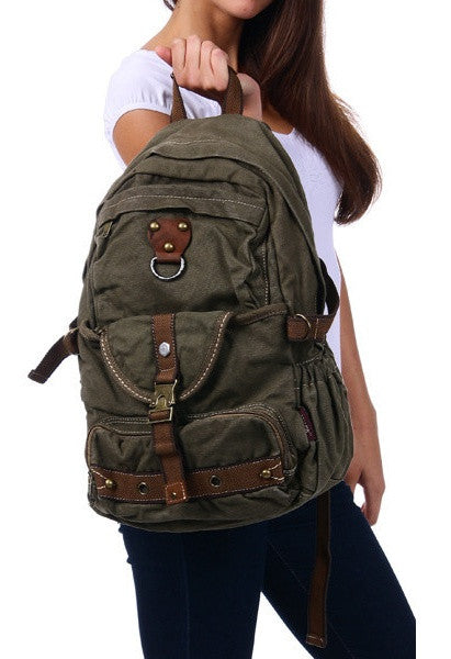 premium quality heavy duty canvas school backpack