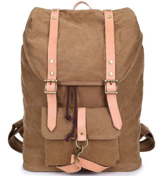 Canvas & Leather Casual Student Laptop Backpack - front view