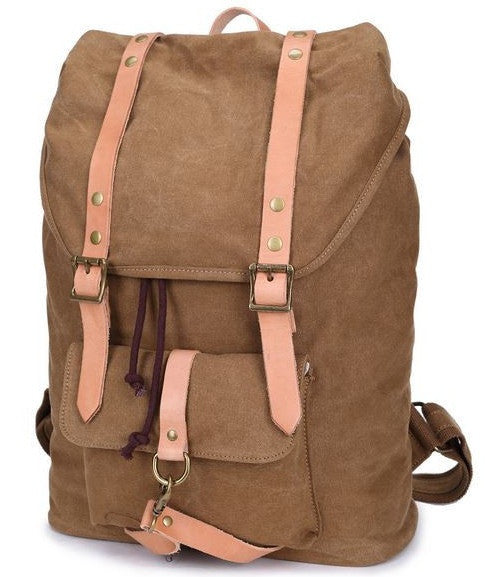 Canvas & Leather Casual Student Laptop Backpack by Serbags