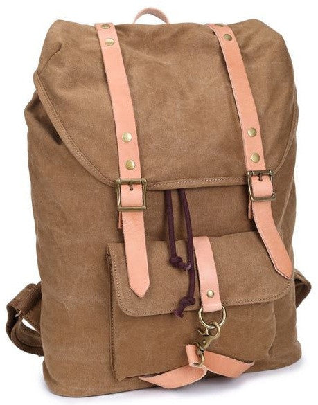 Canvas & Leather Casual Student Laptop Backpack - side view