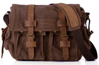dark brown leather and canvas messenger bag for school by Serbags