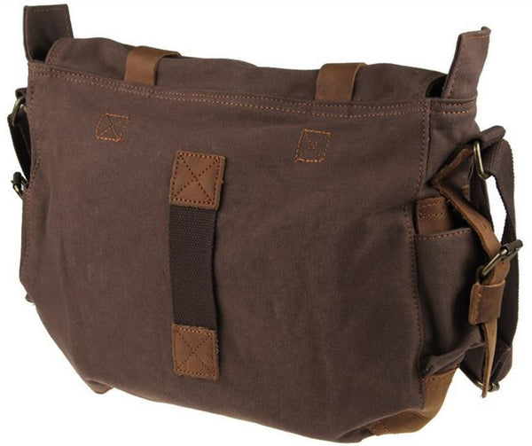 messenger book bag from canvas and leather