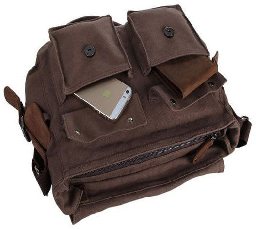 exterior pockets for the dark brown school messenger bag by Serbags