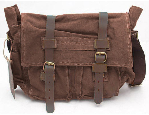 stylish leather and canvas messenger bag for school