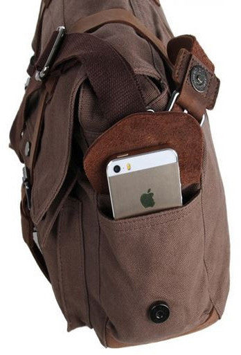 side pockets fitting an iphone on the dark brown school messenger bag by Serbags
