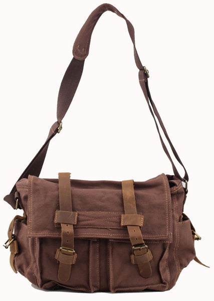 front view for the dark brown leather and canvas messenger bag for school by Serbags
