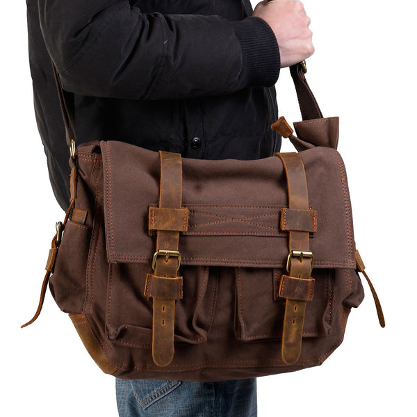man wearing a dark brown school messenger bag by Serbags