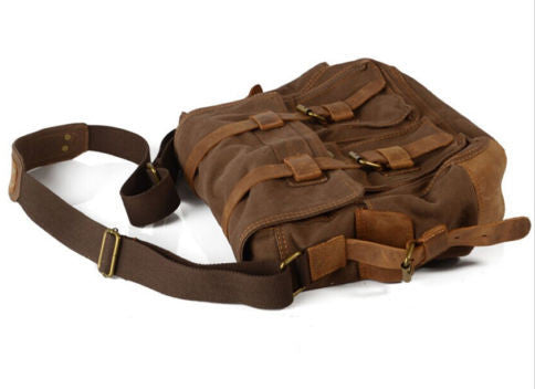 dark brown school messenger bag by Serbags