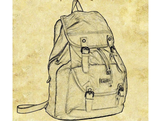 Diagram of the Brown Canvas  & Leather Casual Travel Rucksack Backpack - Serbags - 12