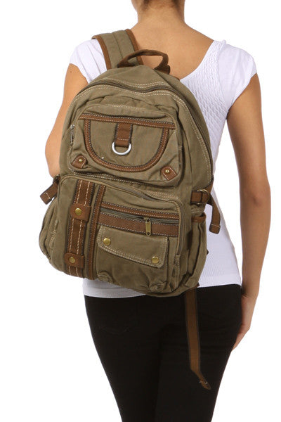 Canvas Lightweight Multi-compartment Utility Backpack - Serbags  - 10