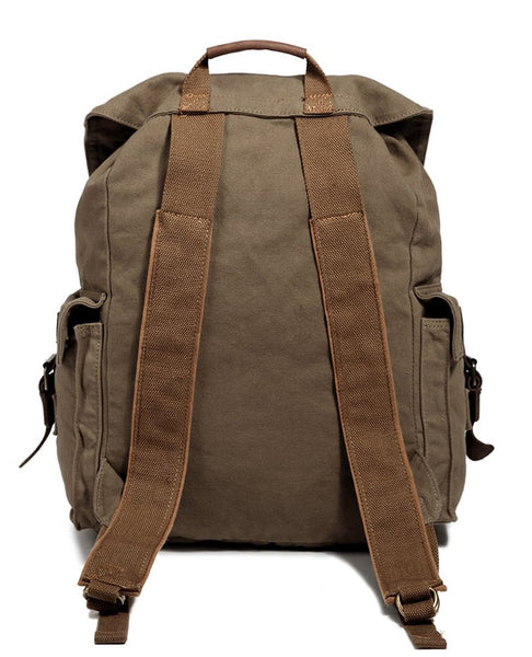 back view of the olive hiking canvas travel backpack by Serbags