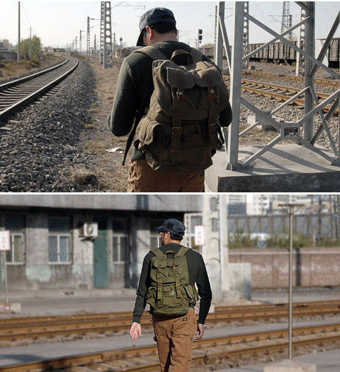 Unisex Army Green Canvas Heavy Duty Rucksack by Serbags