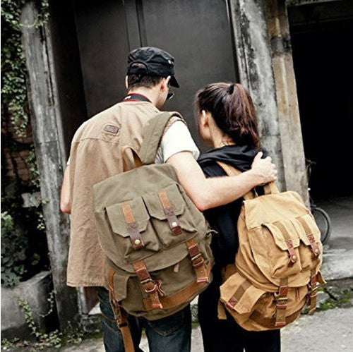 Couple sporting green & light brown heavy duty rucksacks by Serbags