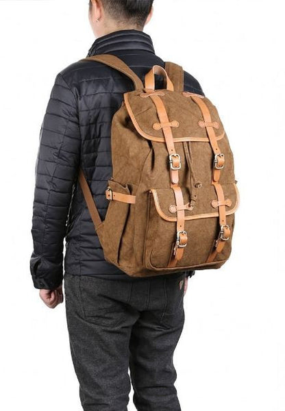 Man wearing cotton backpack with leather straps by SerBags