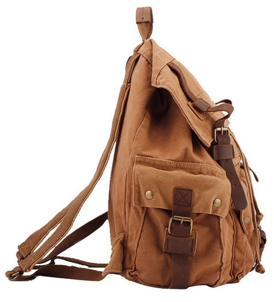 Side view of the brown Serbags canvas travel backpack