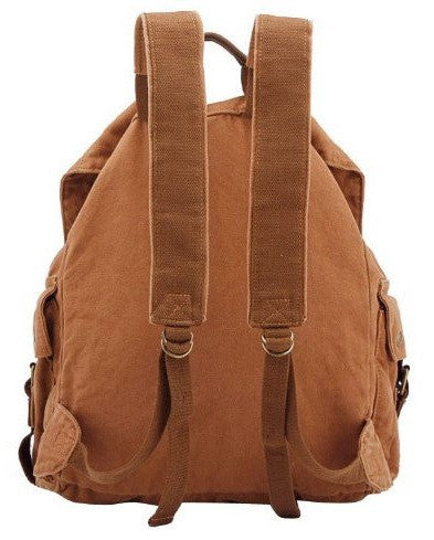 back view of brown canvas backpack by Serbags