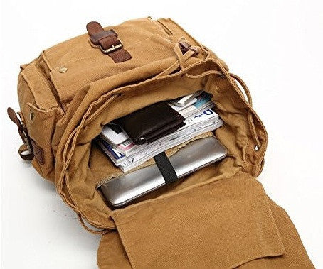 Interior pockets of the unisex canvas travel backpack by Serbags