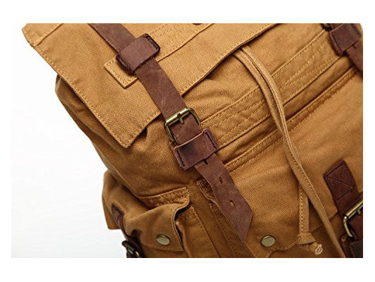 Large Canvas Leather Hiking Outdoor Travel Backpack - Serbags  - 7
