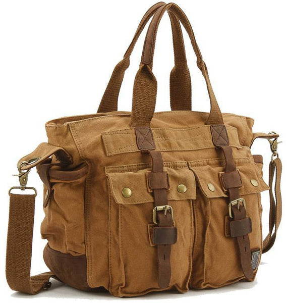 Multi-purpose Canvas Satchel with Leather Accents