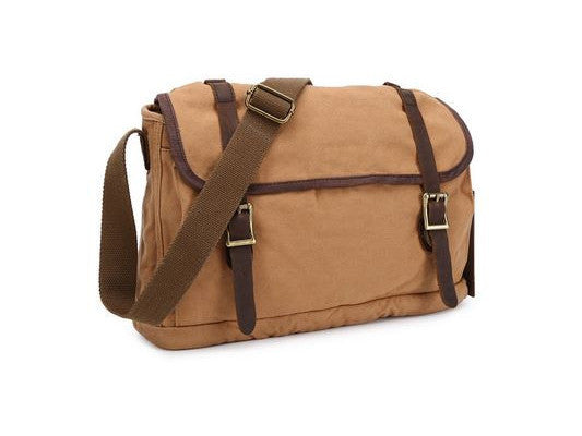 Canvas Crossbody Messenger Bag Light Brown - New - Serbags  - 3