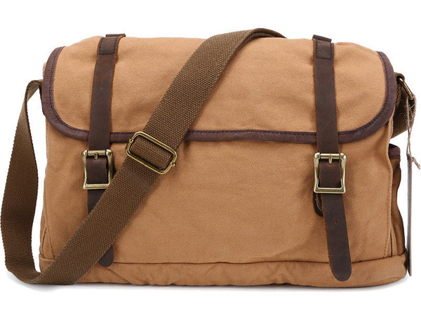 Canvas Crossbody Messenger Bag Light Brown - New - Serbags  - 2