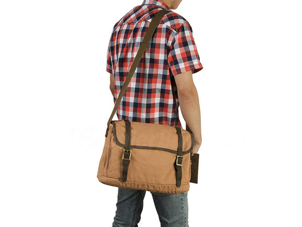 Canvas Crossbody Messenger Bag Light Brown - New - Serbags  - 7