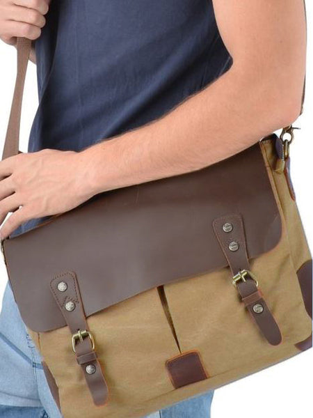 Casual Canvas and Genuine Leather Messenger Bag - 14