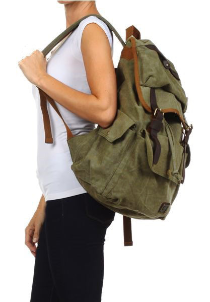 Khaki Casual Laptop Student Travel Backpack - Serbags - 5