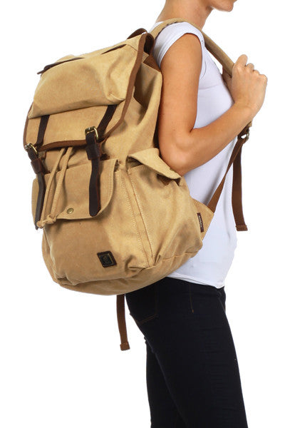 Light Brown Casual Laptop Student Travel Backpack - Serbags - 3