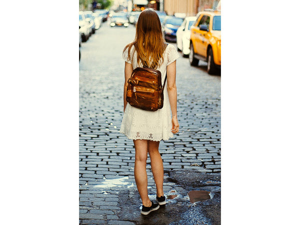 Casual Medium Soft Leather Women Backpack - Serbags  - 9