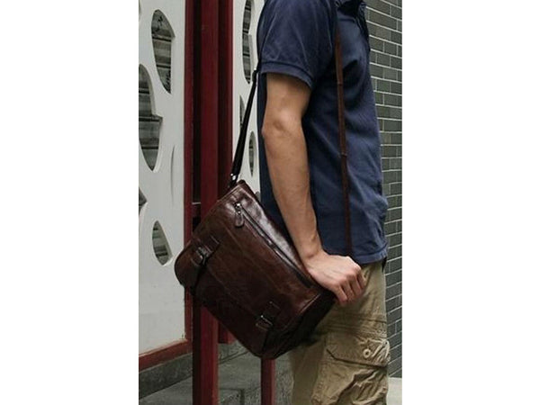 Casual Leather Crossbody Messenger Bag - Serbags  - 8