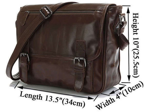 Casual Leather Crossbody Messenger Bag - Serbags  - 4