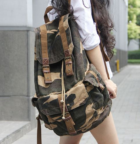 Side view of the Camo Cargo Military Rucksack Backpack by Serbags