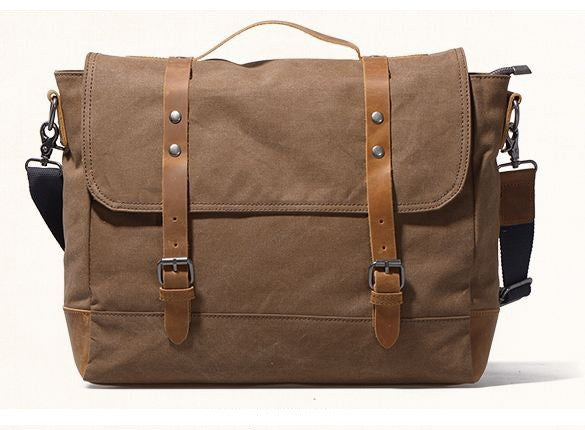 5f79d22d15 Double Shoulder Straps Durable Canvas and Leather Messenger Bag with Metal  Finish