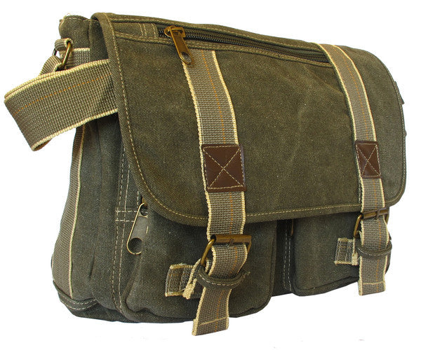 Classic Multi-Pocket Green Messenger Bag - Serbags  - 2