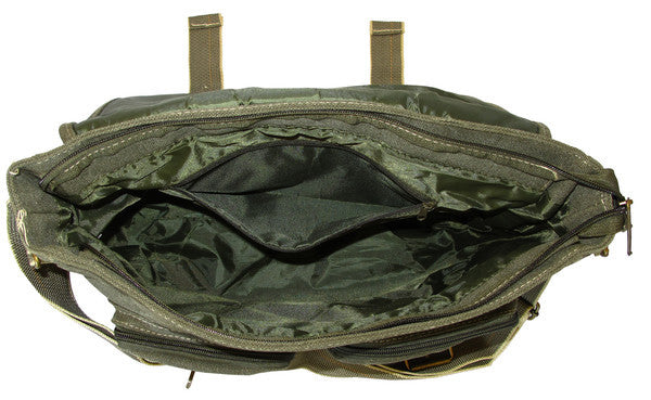 Classic Multi-Pocket Green Messenger Bag - Serbags  - 5