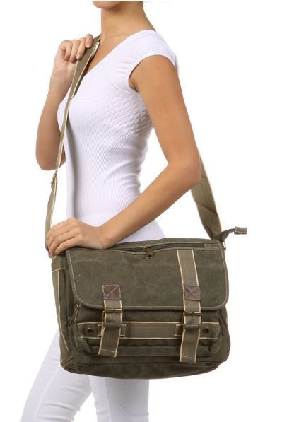 Classic Multi-Pocket Green Messenger Bag - Serbags  - 6
