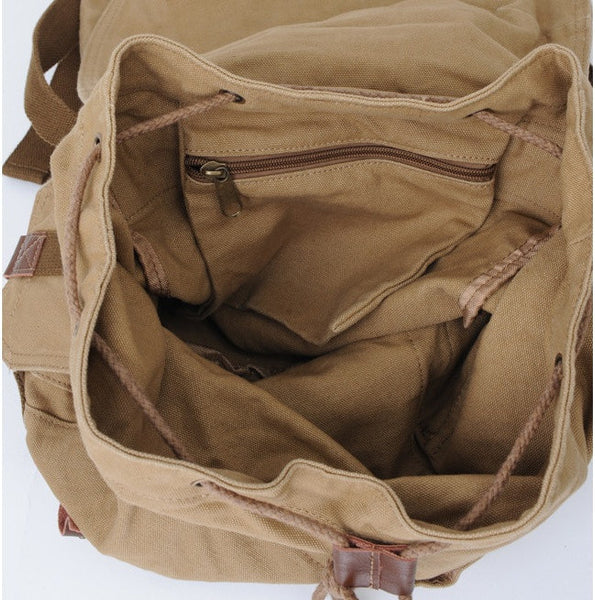 Interior pockets detail - Serbags light-brown military travel backpack