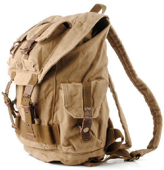 Side view Military Style Canvas School Travel Backpack